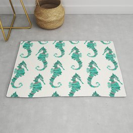 Seahorse – Silver & Turquoise Rug