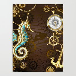 Wooden Background with Mechanical Seahorse ( Steampunk ) Poster