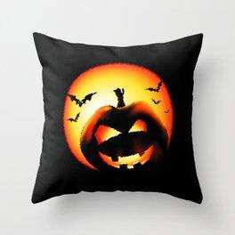 Smile Of Scary Pumpkin Throw Pillow