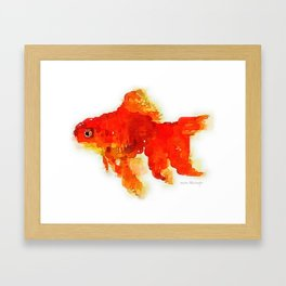 Sleeping Goldfish Watercolor Painting Framed Art Print