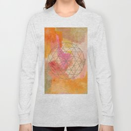 Warm Abstract with Geometric Sphere Long Sleeve T-shirt