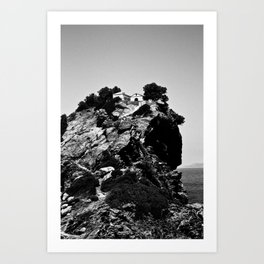 Church on a Hill (Black & White) Art Print