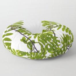 Green Rowan Leaves White Background #decor #society6 #buyart Floor Pillow