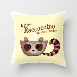 Raccuccino! Throw Pillow