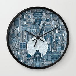 space city mono blue Wall Clock