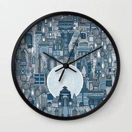 space city mono blue Wall Clock