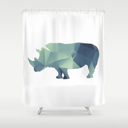 Rihno - blue geomatric Shower Curtain