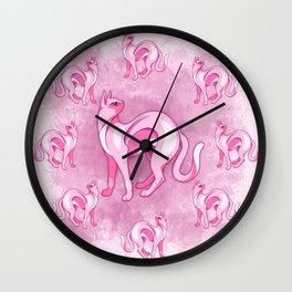 Pink Cat Mood Wall Clock