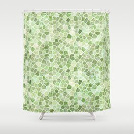 Pale Green Cobbled Patchwork Shower Curtain