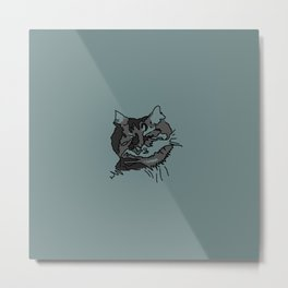 Turquoise Sleeping Cat Metal Print