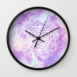 Flower Of Life (Soft Lavenders) Wall Clock