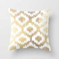 Throw Pillows featuring Modern white hand drawn ikat pattern faux gold  by Pink Water