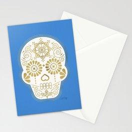 Día de Muertos • Mexican Sugar Skull – Blue & Gold Palette Stationery Cards