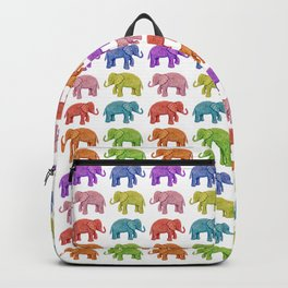 Colorful Parade of Elephants in Red, Orange, Yellow, Green, Blue, Purple and Pink Backpack