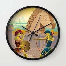 trojan war and troy horse Wall Clock