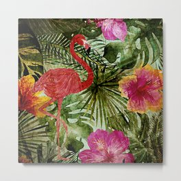 Tropical Vintage Exotic Jungle- Floral and Flamingo watercolor pattern Metal Print