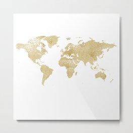 Wetlook Gold World Map Metal Print