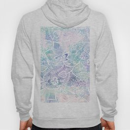 Modern purple lavender turquoise watercolor floral lace hand drawn illustration Hoody