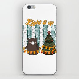 Light it up tiny bear Christmas in the forest iPhone Skin