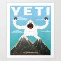 yeti Art Prints featuring Yeti by Artificial primate