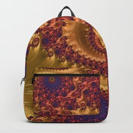 Feathery Flow Orange - Fractal Art  Backpack