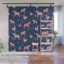 Swedish Dala Horse and Rooster Blue and Pink Pattern Wall Mural