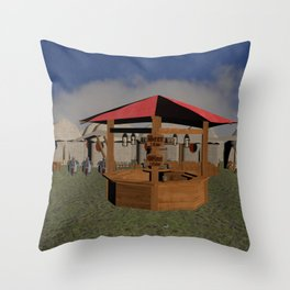 Medieval Market Tavern Throw Pillow