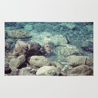 swimming Area & Throw Rugs featuring SWIMMING by Marte Stromme