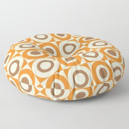 Mid Century Square and Circle Pattern 541 Orange and Brown Floor Pillow