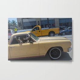 Dog in a car Metal Print