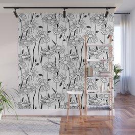 Daisies - black & white Wall Mural