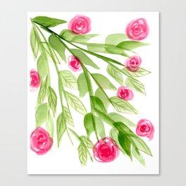 Pink Rosebuds in Watercolor Canvas Print