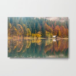 Autumn foliage at the alpine lake Metal Print