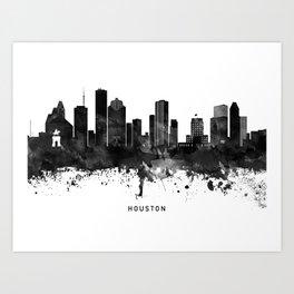 Houston Black White Named Skyline Art Print