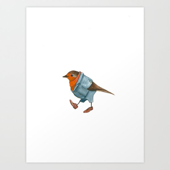 Robin in suit Art Print