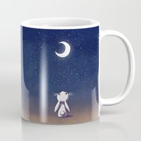 bunny Mugs featuring Moon Bunny by Freeminds