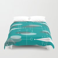 mid century modern Duvet Covers featuring Mid-Century Modern Ovals Teal by Kippygirl