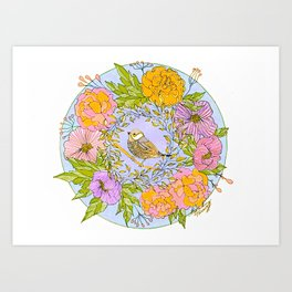 Spring Chickadee in Flowery Woodland Wreath Art Print