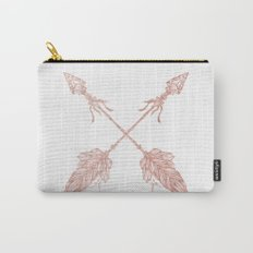 Tribal Arrows Rose Gold on White Carry-All Pouch