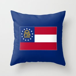 Georgia State Flag Patriotic Design Throw Pillow