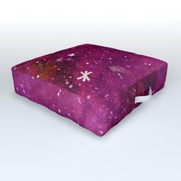 Watercolor galaxy - pink and purple Outdoor Floor Cushion