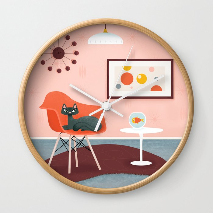 Midcentury Coral Decor With Black Cat And Gold Fish Wall Clock