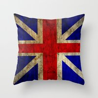 british flag Throw Pillows featuring British Flag by Jason Michael