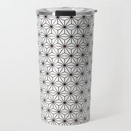 Black/White Japanese Hemp Kimono Pattern Travel Mug