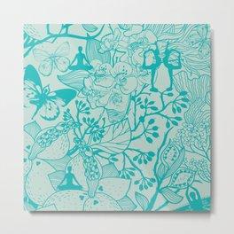 Yoga Garden - Teal Metal Print