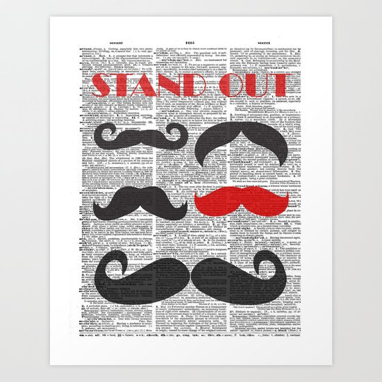"""Stand Out Mustache"" Dictionary Page – Original Digital Art Print Art Print"