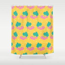 Swedish Cloudberries in Yellow + White Polka Dot Shower Curtain