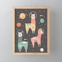 Astronaut Llamas in Space Framed Mini Art Print