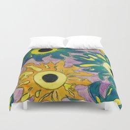 Green and orange Sunflowers. Duvet Cover