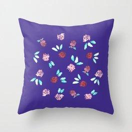 Clover Flowers on Purple Throw Pillow